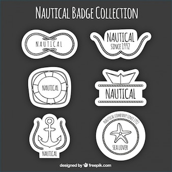 Black and white nautical logos, hand drawn
