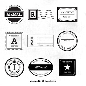 Black and white post service stamps