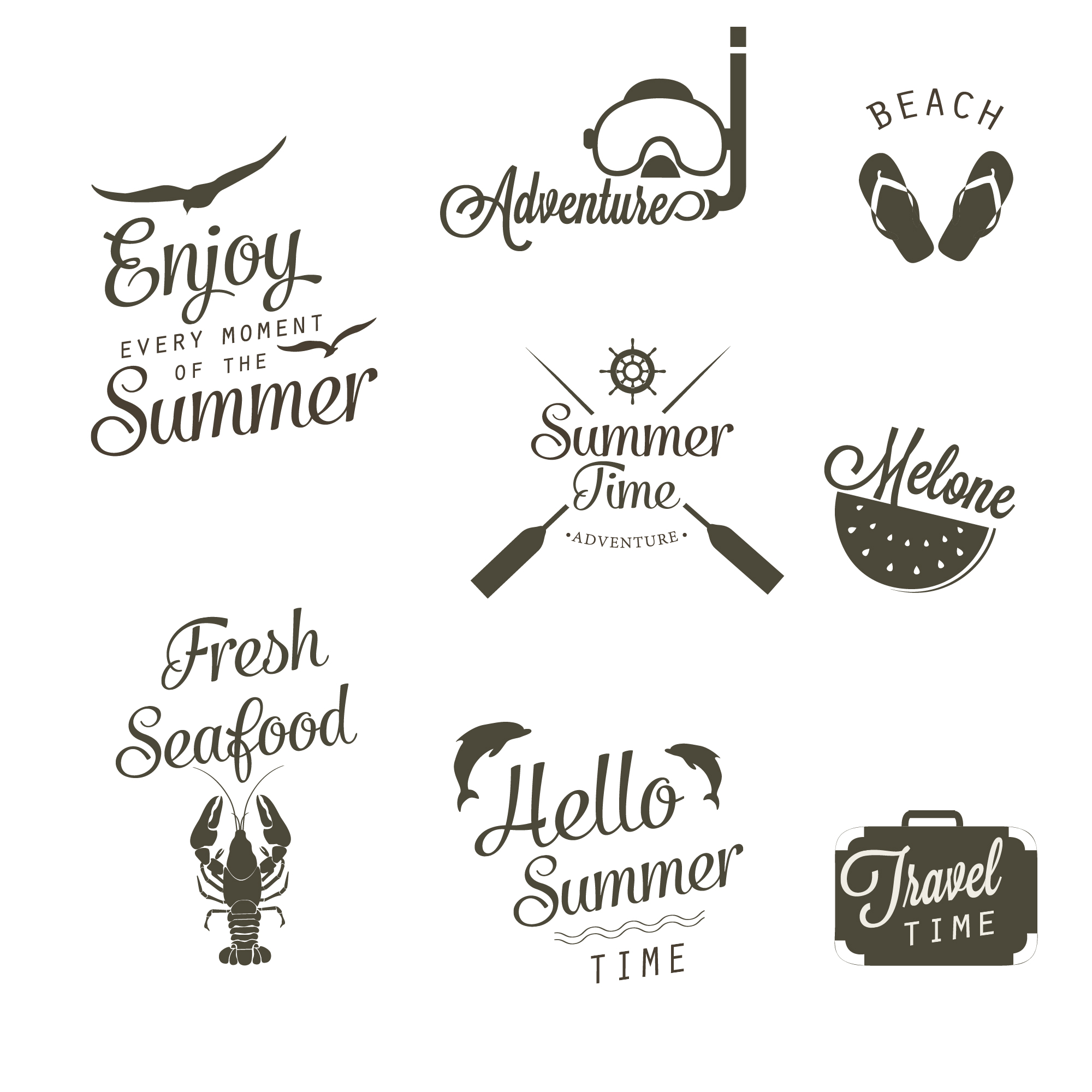 Black and white summer logo collection