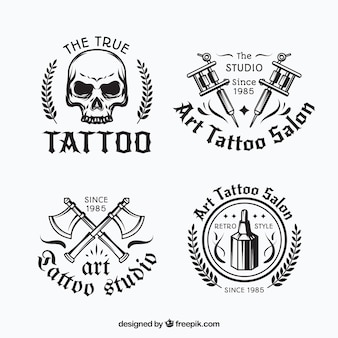 Black and white tattoo logo collection