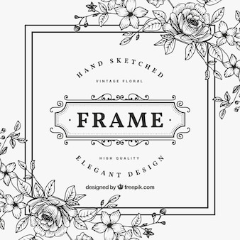 Black and white vintage flower frame