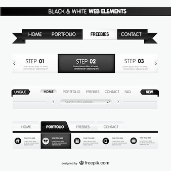 Black and white web elements