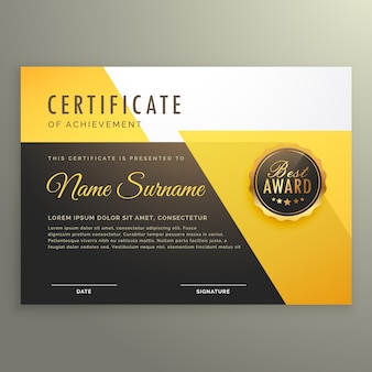 Black and yellow achievement certificate template