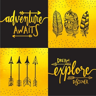 Black and yellow background with arrows and feathers