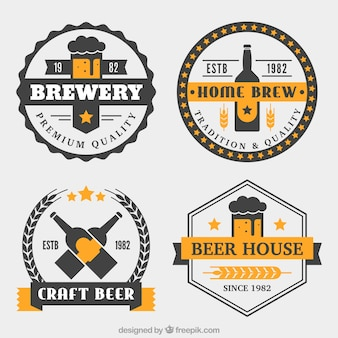 Black and yellow badges in flat style