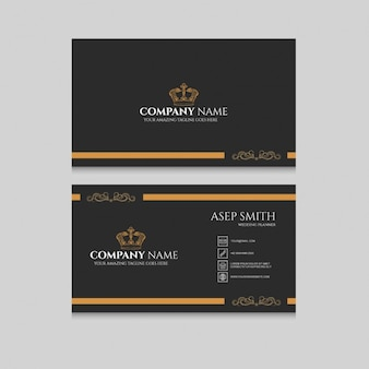 Black and yellow business card with a crown