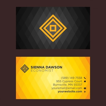 Black and yellow business card with rhombus