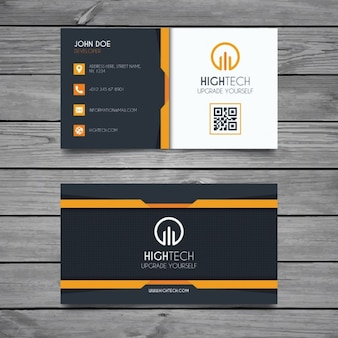Black and yellow business card