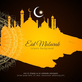 Black and yellow eid mubarak vector design