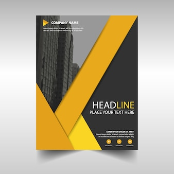 Black and yellow geometric business brochure