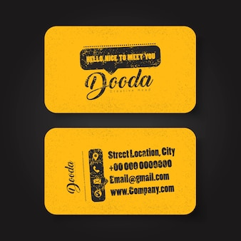 Black and yellow grunge business card