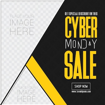 Black and yellow template, cyber ​​monday