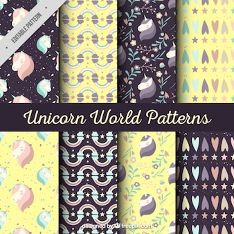 Black and yellow unicorn pattern collection