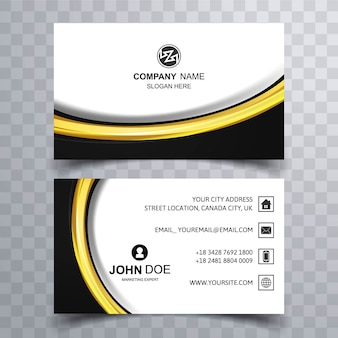 Black and yellow wavy business card