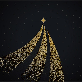Black background with a golden christmas tree