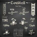 Black background with cocktails labels