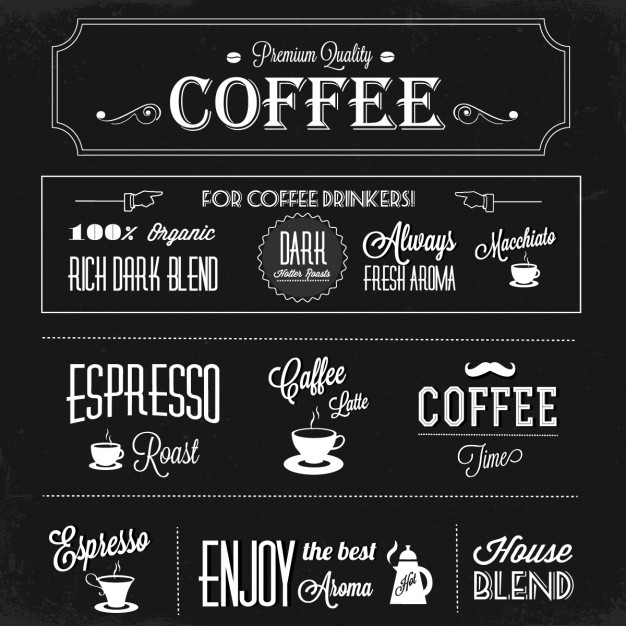 Black background with coffee labels