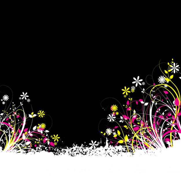 Black background with colorful flowers