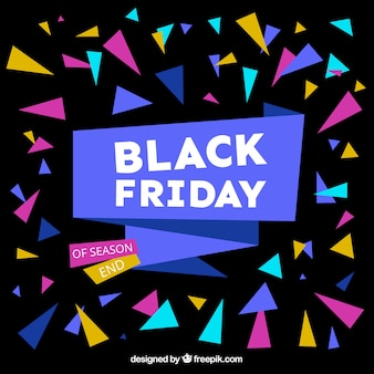 Black background with colorful polygons for black friday