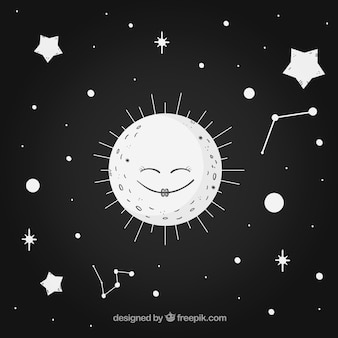 Black background with cute moon and stars