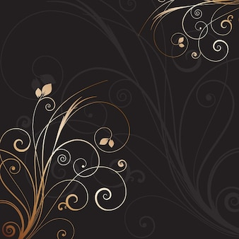 Black background with golden floral ornament
