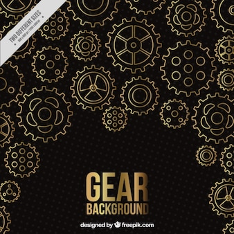 Black background with golden gears
