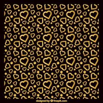 Black background with golden hearts
