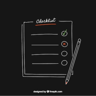 Black background with pencil and checklist
