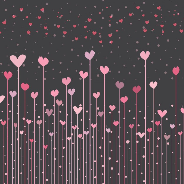 Black background with pink hearts for valentine