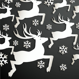 Black background with reindeers and snowflakes