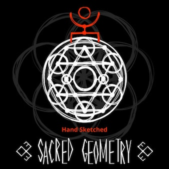 Black background with sacred geometry drawing