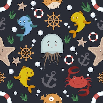 Black background with sealife pattern