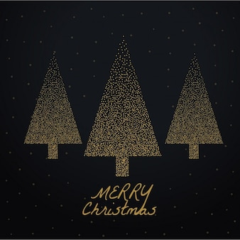 Black background with three golden christmas trees