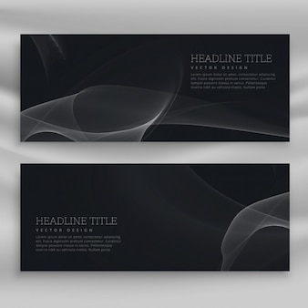 Black banners with wavy shapes