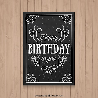 Black birthday card with hand drawn elements