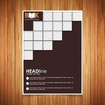 Black brochure with squares