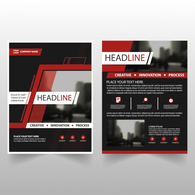 Black business brochures with red details