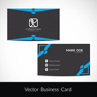 Black business card design with blue shapes