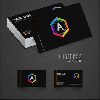Black business card template with colorful detail