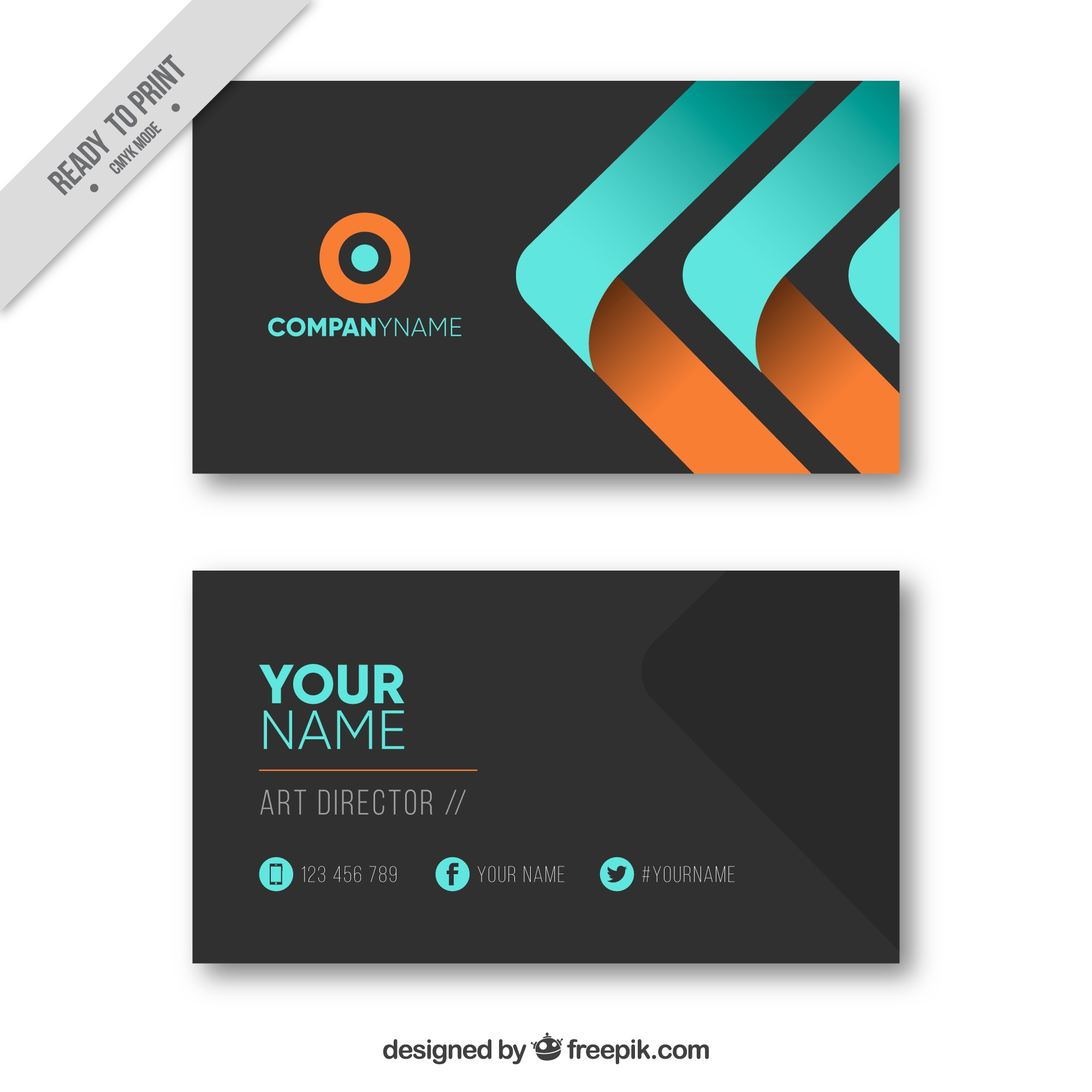 Black business card with blue and orange elements