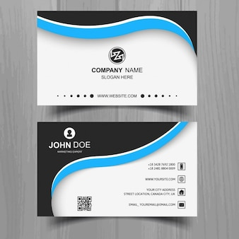 Black business card with blue shapes