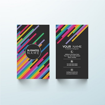 Black business card with colorful lines
