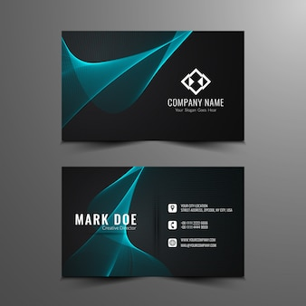 Black business card with elegant wavy shapes