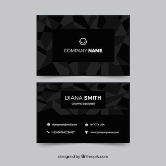 Black business card with geometry