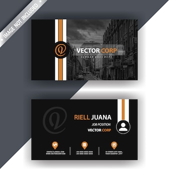 Black business card with gold details