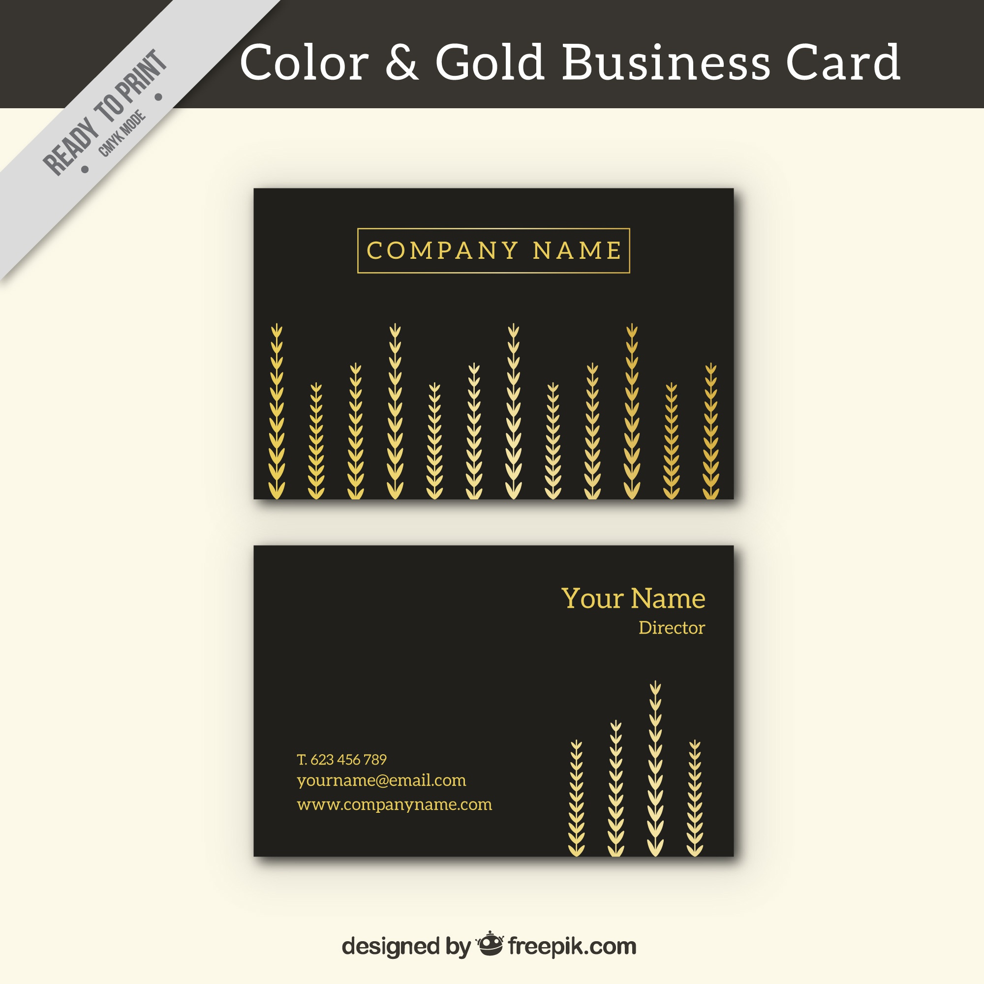 Black business card with golden decoration