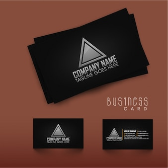 Black business card with gray details