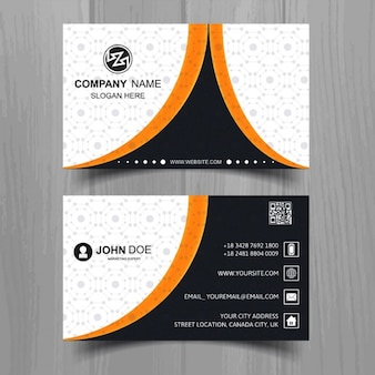Black business card with orange lines