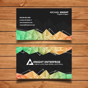 Black business card with polygonal shapes