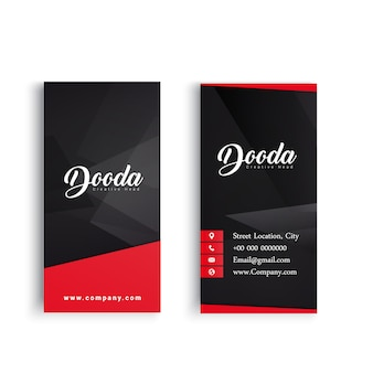 Black business card with red details